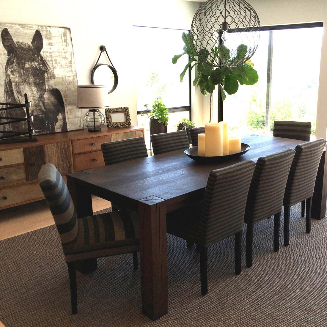 Sara bates interior design dine for Wood dining table centerpiece