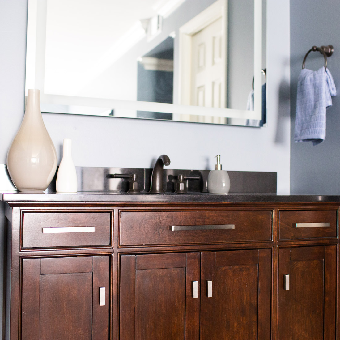 master bathroom vanity and backlit mirror design by sara bates interior design